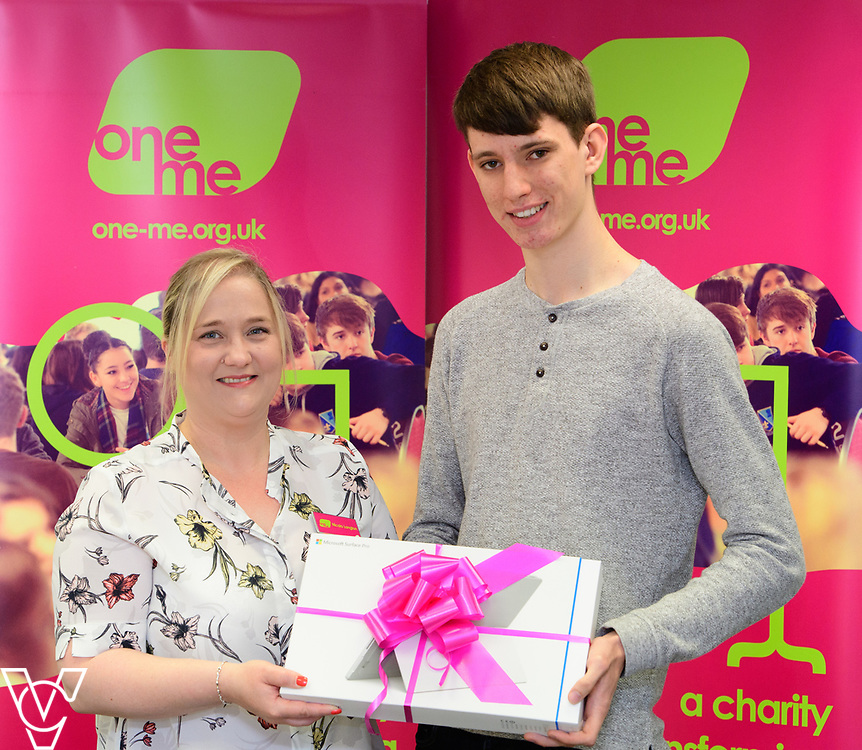 Cameron Wood has been awarded a grant from charity one me, which is being used towards IT equipment for his upcoming University course.  Pictured, from left, one me trustee Nicola Langton and Cameron Wood.<br /> <br /> Picture: Chris Vaughan Photography/one me<br /> Date: July 4, 2017