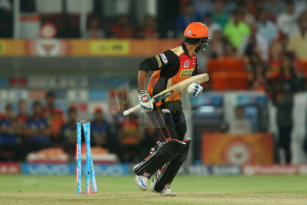 Deepak Hooda of Sunrisers Hyderabad looks back after stepping onto his wickets during match 42 of the Vivo IPL 2016 (Indian Premier League) between the Sunrisers Hyderabad and the Delhi Daredevils held at the Rajiv Gandhi Intl. Cricket Stadium, Hyderabad on the 12th May 2016<br /> <br /> Photo by Shaun Roy / IPL/ SPORTZPICS