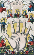 The Powerful Hand. Popular 19th century coloured woodcut showing hand with nail wound, Jesus, the all-seeing eye of God, and holy justice represented by the balance and the sword.