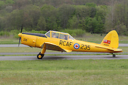 Wurtsboro, NY - A pilot taxies a 1952 De havilland DHC-1 Chipmunk airplane on the runway during the grand reopening of Wurtsboro Airport on May 11, 2008.