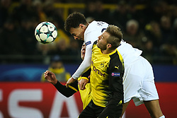 DORTMUND, Nov. 22, 2017  Dele Alli (top) of Tottenham Hotspur heads the ball during the UEFA Champions League group H match against Borussia Dortmund at Signal Iduna Park on Nov. 21, 2017 in Dortmund, Germany. Tottenham Hotspur won 2-1. (Credit Image: © Joachim Bywaletz/Xinhua via ZUMA Wire)