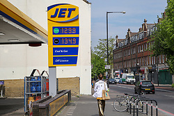 © Licensed to London News Pictures. 27/04/2020. London, UK. Jet petrol station in East London sells unleaded petrol below £1.30 per litre and diesel below £1.34 per litre following oil price drop. Photo credit: Dinendra Haria/LNP