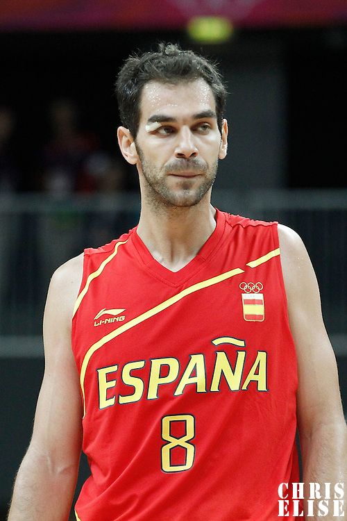 31 July 2012: Spain Jose Calderon rests during the 82-70 Spain victory over Australia, during the men's basketball preliminary, at the Basketball Arena, in London, Great Britain.