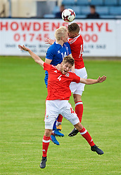 RHYL, WALES - Monday, September 4, 2017: Wales' Brandon Cooper and Ryan Reynolds compete with Iceland's Daníel Hafsteinsson during an Under-19 international friendly match between Wales and Iceland at Belle Vue. (Pic by Paul Greenwood/Propaganda)