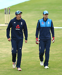 England's Alastair Cook (left) and Joe Root during a nets session at Headingley, Leeds.