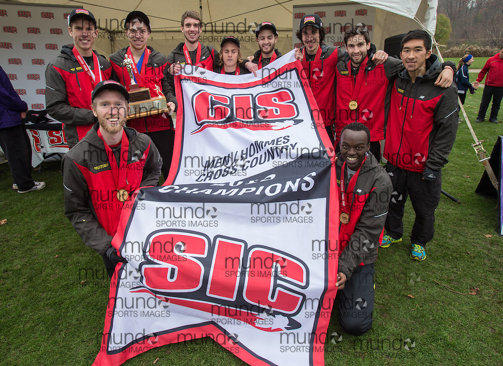 London, Ontario ---2012-11-10--- The Guelph Gryphons Men's team celebrate their win at the 2012 CIS Cross Country Championships at Thames Valley Golf Course in London, Ontario, November 10, 2012. .GEOFF ROBINS Mundo Sport Images