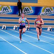 NLD/Apeldoorn/20180217 - NK Indoor Athletiek 2018, 60 meter dames, Kadene Vassell, Dafne Schippers , Naomi Sedney en Jamile Samuel