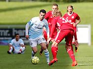 FODBOLD: Osama Akharraz (FC Helsingør) med bolden under kampen i Reserveligaen mellem Lyngby Boldklub og FC Helsingør den 11. september 2017 på Lyngby Stadion. Foto: Claus Birch