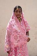 Girl in formal dress at Dargah shrine in Nagore.