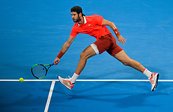 Karen Khachanov of Russia returns the ball to Stan Wawrinka of Switzerland during their first round of ATP Qatar Open Tennis match at the Khalifa International Tennis Complex in Doha, capital of Qatar, on January 01, 2019. Wawrinka won 2-0  (Credit Image: © Nikku/Xinhua via ZUMA Wire)