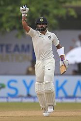 July 29, 2017 - Galle, Sri Lanka - Indian cricket captain Virat Kohli celebrates after scoring 100 runs during the 4th Day's play in the 1st Test match between Sri Lanka and India at the Galle cricket stadium, Galle, Sri Lanka on Saturday 29 July 2017. (Credit Image: © Tharaka Basnayaka/NurPhoto via ZUMA Press)