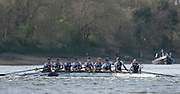 London, Great Britain, Exhausted but smiling, Oxford UWBC. win the first Women's Boat Race on the Thames. Newton Women's Boat Race, Men's Race , Championship Course.  River Thames. Putney to Mortlake. ENGLAND. <br /> <br /> 17:10:05  Saturday  11/04/2015<br /> <br /> [Mandatory Credit; Peter Spurrier/Intersport-images]<br /> <br /> OUWBC Crew: <br /> Maxie SCHESKE, Anastasia CHITTY, Shelley PEARSON, Lauren KEDAR, Maddy BADCOTT, Emily REYNOLDS, Nadine GRAEDEL IBERG, Caryn DAVIES and Cox Jennifer EHR