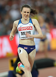London, August 13 2017 . Laura Muir, Great Britain, digs deep in the women's 5000m final on day ten of the IAAF London 2017 world Championships at the London Stadium. © Paul Davey.