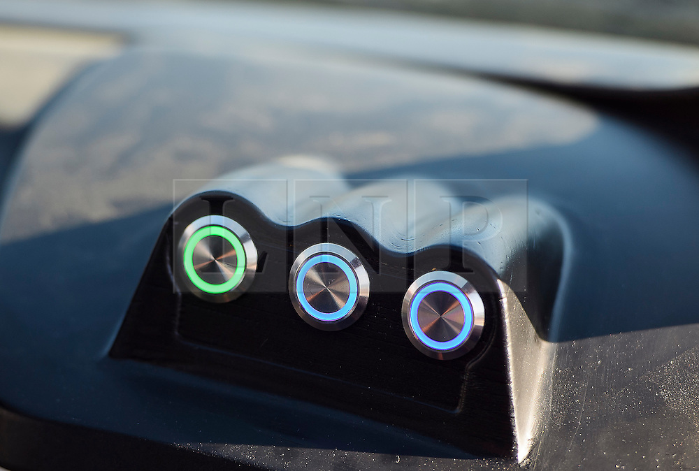 © London News Pictures. 11/10/2016. Milton Keynes, UK. Detail showing an indicator on the dashboard of the vehicle.  Driverless cars being tested Around pedestrian areas in Milton Keynes in the first public test of autonomous electric vehicles in the UK. The vehicles have been developed by the Oxford Robotics Institute and Oxbotica. Photo credit: Ben Cawthra/LNP