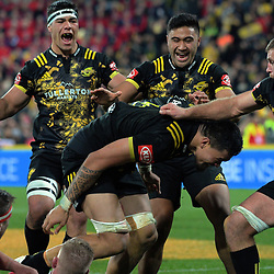 Vaea Fifita celebrates his try during the 2017 DHL Lions Series rugby match between the Hurricanes and British & Irish Lions at Westpac Stadium in Wellington, New Zealand on Tuesday, 27 June 2017. Photo: Dave Lintott / lintottphoto.co.nz