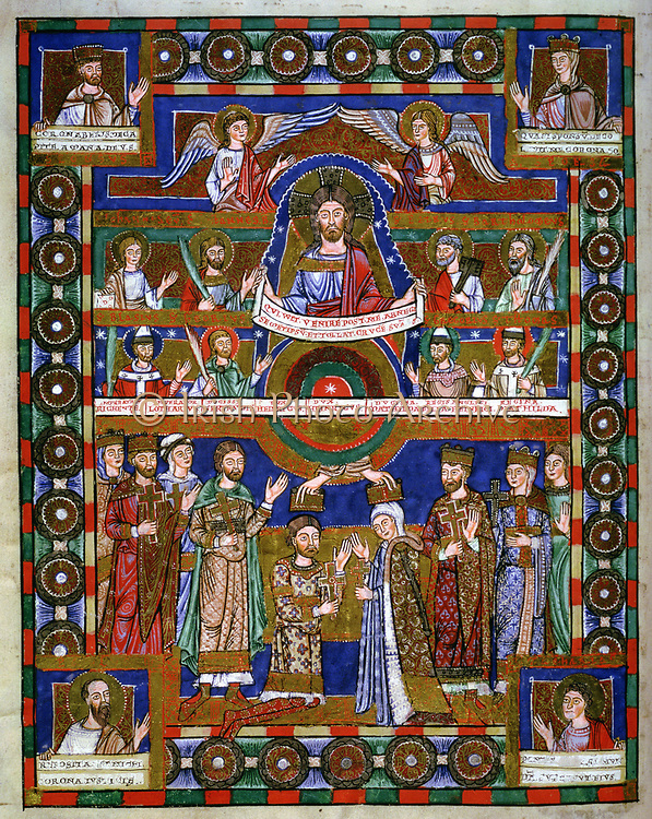 Coronation of Henry the Lion (1129-1195) Duke of Saxony from 1146, and his wife Matilda daughter of Henry II of England, married 1168. In top half of picture Christ, Angels and Saints look down. From 'Gospel of Henry the Lion'. Manuscript .