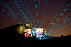 Custer, South Dakota:  Crazy Horse Memorial illuminated at night, during laser light and sound show.