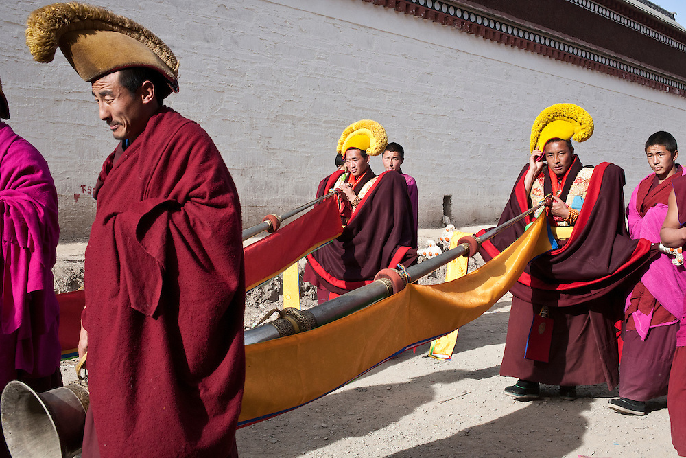 February 4 2012 On the path to the hill where a giant Thangka of Buddha will be displayed. Police is deployed everywhere.