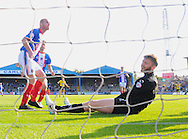 Carlisle United goalkeeper Mark Gillespie reacts after Adebayo Azeez of AFC Wimbledon ( not pictured here) scored the equalizer to make it 4-4 during the Sky Bet League 2 match at Brunton Park, Carlisle<br /> Picture by Greg Kwasnik/Focus Images Ltd +44 7902 021456<br /> 06/09/2014