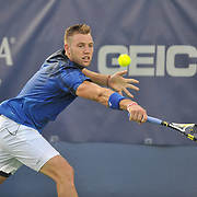JACK SOCK of the United States plays against Ruben Bemelmans of Belgium at Day 2 of the Citi Open at the Rock Creek Tennis Center in Washington, D.C.