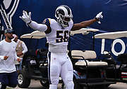 Los Angeles Rams defensive end Dante Fowler (56) runs onto the field before an NFL football game against the New Orleans Saints, Sunday, Sept. 15, 2019, in Los Angeles. The Rams defeated the Saints 27-9. (Dylan Stewart/Image of Sport)