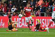 Bristol City striker Jamie Paterson (20) , Bristol City player Kasey Palmer (45) and Hull City player Robbie McKenzie (27) during the EFL Sky Bet Championship match between Hull City and Bristol City at the KCOM Stadium, Kingston upon Hull, England on 5 May 2019.