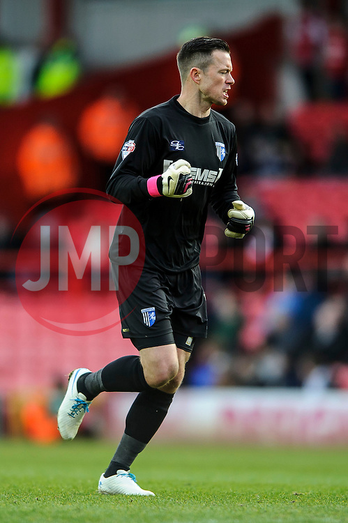 Gillingham Goalkeeper Stuart Nelson (ENG) clenches his fist as his side equalise - Photo mandatory by-line: Rogan Thomson/JMP - 07966 386802 - 01/03/2014 - SPORT - FOOTBALL - Ashton Gate, Bristol - Bristol City v Gillingham - Sky Bet League One.