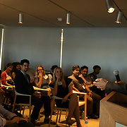 APRIL 25, 2018--MIAMI, FLORIDA<br /> Alberto Ibarguen, CEO and President of the Knight Foundation, with closing comments for some of the recipients of $1.87 million from the foundation to support the exploration of new ways technology can connect people to art. The event was held at the Perez Art Museum Miami.<br /> (PHOTO BY ANGELVALENTIN/FREELANCE)