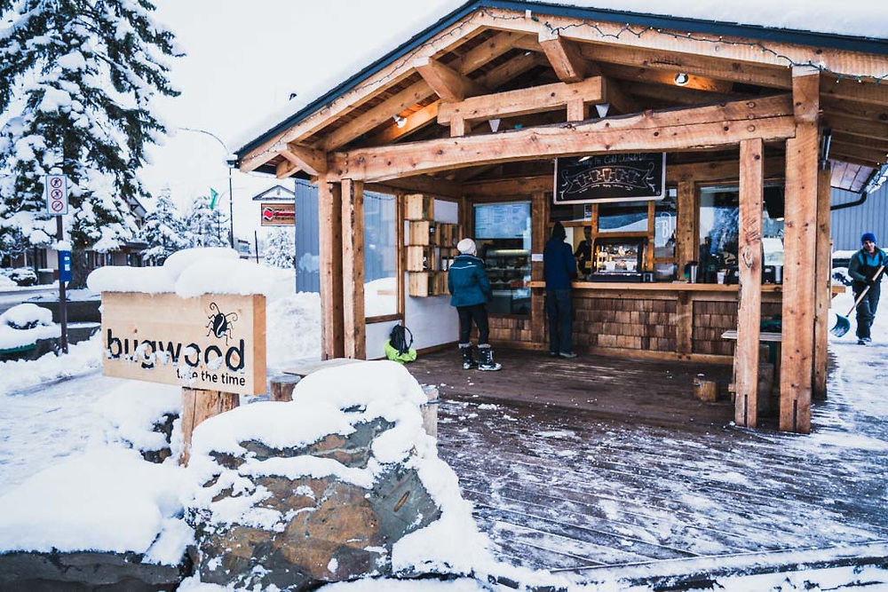 Bugwood coffee cabin on Main Street, Smithers, British Columbia.