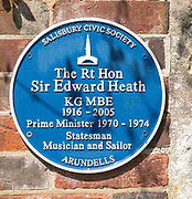 Blue plaque at Arundells to Sir Edward Heath 1916-2005,  Prime Minister 1970-1974, Salisbury, Wiltshire, England, UK