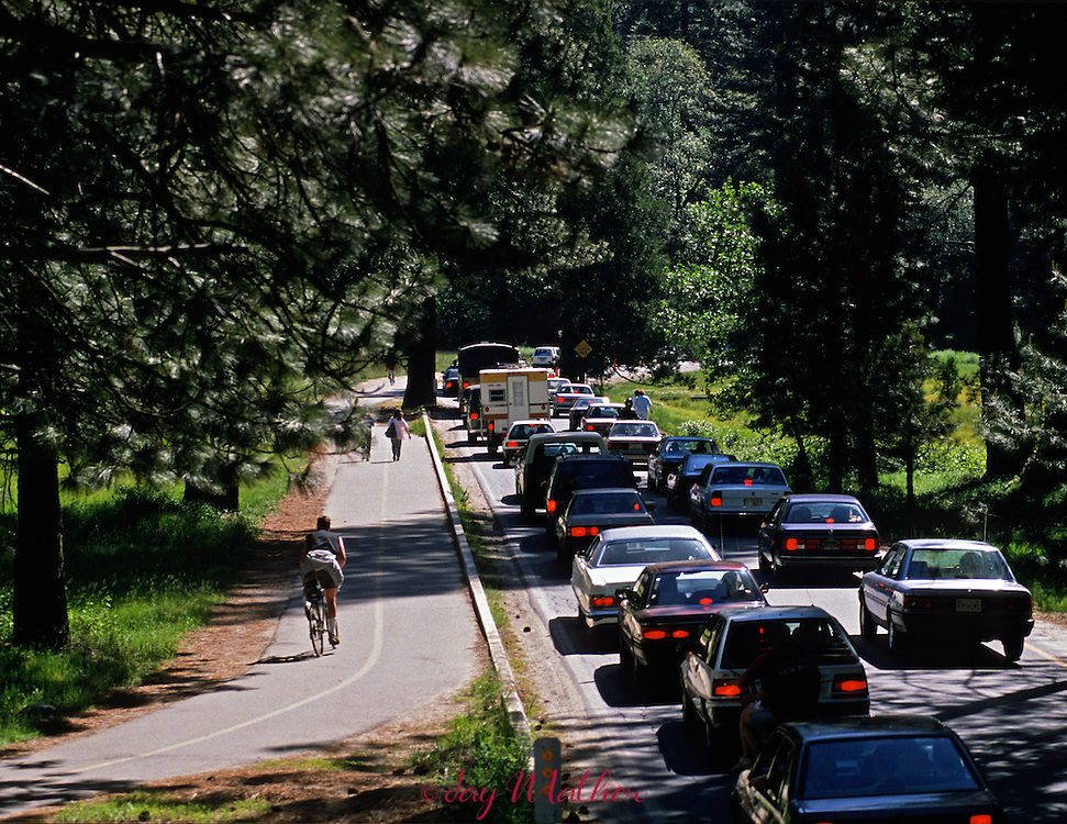 Photographs from the project documenting the 100th anniversary of Yosemite National Park in 1990...Memorial Day traffic slowly moves out of the park.