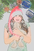 Digitally enhanced image of a Young teen wearing Santa's helper hat and hugging a stuffed Teddy bear with Christmas decorations in the background