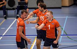 28-08-2016 NED: Nederland - Slowakije, Nieuwegein<br /> Het Nederlands team heeft de oefencampagne tegen Slowakije met een derde overwinning op rij afgesloten. In een uitverkocht Sportcomplex Merwestein won Nederland met 3-0 van Slowakije / Daan van Haarlem #1, Thomas Koelewijn #15