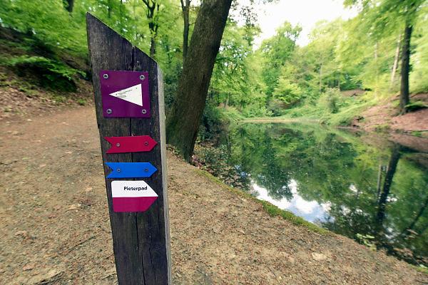 Nederland, The Netherlands, Plasmolen, 3-5-2018 De Jansberg is een heuvel, onderdeel van de stuwwal die tussen Groesbeek en de Maas ligt . Hier ligt de bron van de beek die langs het wandelpad naar beneden loopt en een watermolen voedt . Lokatie is opgenomen in de wandelroute walk of wisdom die door de regio, omgeving, rijk van nijmegen voert, pelgrimstocht, pelgrimsroute, Foto: Flip Franssen