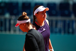May 9, 2019 - Madrid, MADRID, SPAIN - Vera Zvonareva (RUS) and Jelena Ostapenko (LAT) during the Mutua Madrid Open 2019 (ATP Masters 1000 and WTA Premier) tenis tournament at Caja Magica in Madrid, Spain, on May 09, 2019. (Credit Image: © AFP7 via ZUMA Wire)