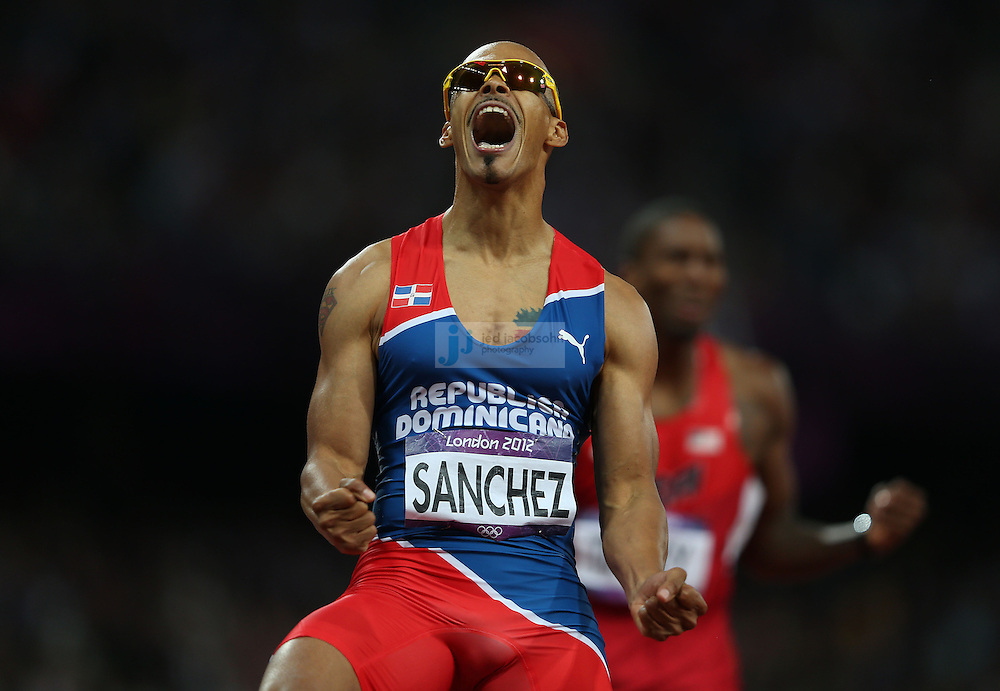 Felix Sanchez of the Dominican Republic celebrates after winning the 400m hurdles final during track and field at the Olympic Stadium during day 10 of the London Olympic Games in London, England, United Kingdom on August 3, 2012..(Jed Jacobsohn/for The New York Times)..