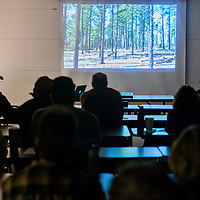 Shawn Martin from the United States Forest Service makes a presentation at the Zuni Mountain Landscape Collaborative meeting at the Octavia Fellin Library in Gallup Tuesday.