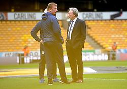 Cardiff City manager Neil Warnock talks his coaching staff prior to kick-off- Mandatory by-line: Nizaam Jones/JMP - 02/03/2019 - FOOTBALL - Molineux - Wolverhampton, England -  Wolverhampton Wanderers v Cardiff City - Premier League