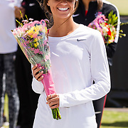 23 March 2018: San Diego State senior Cassidy Towner is recognized during a seniors ceremony at  the final day of the 43rd annual Aztec Invitational.<br /> More game action at sdsuaztecphotos.com