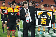 Mils Muliaina and Chiefs Chairman Dallas Fisher during the post game presentation for his 100th game after the Investec Super 15 Rugby match, Chiefs v Stormers, at Waikato Stadium, Hamilton, New Zealand, Saturday 14 May 2011. Photo: Dion Mellow/photosport.co.nz
