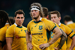 Australia Flanker Michael Hooper (capt) looks dejected after England beat Australia 26-17 - Photo mandatory by-line: Rogan Thomson/JMP - 07966 386802 - 29/11/2014 - SPORT - RUGBY UNION - London, England - Twickenham Stadium - England v Australia - QBE Autumn Internationals.