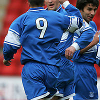 St Johnstone v Partick Thistle....04.11.06<br />Paul Sheerin celebrates his goal with Steven Milne<br /><br />Picture by Graeme Hart.<br />Copyright Perthshire Picture Agency<br />Tel: 01738 623350  Mobile: 07990 594431