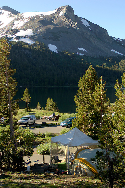 Campground at Tioga Lake along Tioga Pass Road, near Lee Vining, California, United States of America