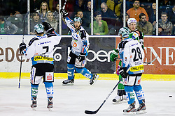 Gregor Baumgartner (EHC Liwest Linz, #79) scores a goal during ice-hockey match between HDD Tilia Olimpija and EHC Liwest Black Wings Linz at fourth match in Semifinal  of EBEL league, on March 13, 2012 at Hala Tivoli, Ljubljana, Slovenia. (Photo By Matic Klansek Velej / Sportida)