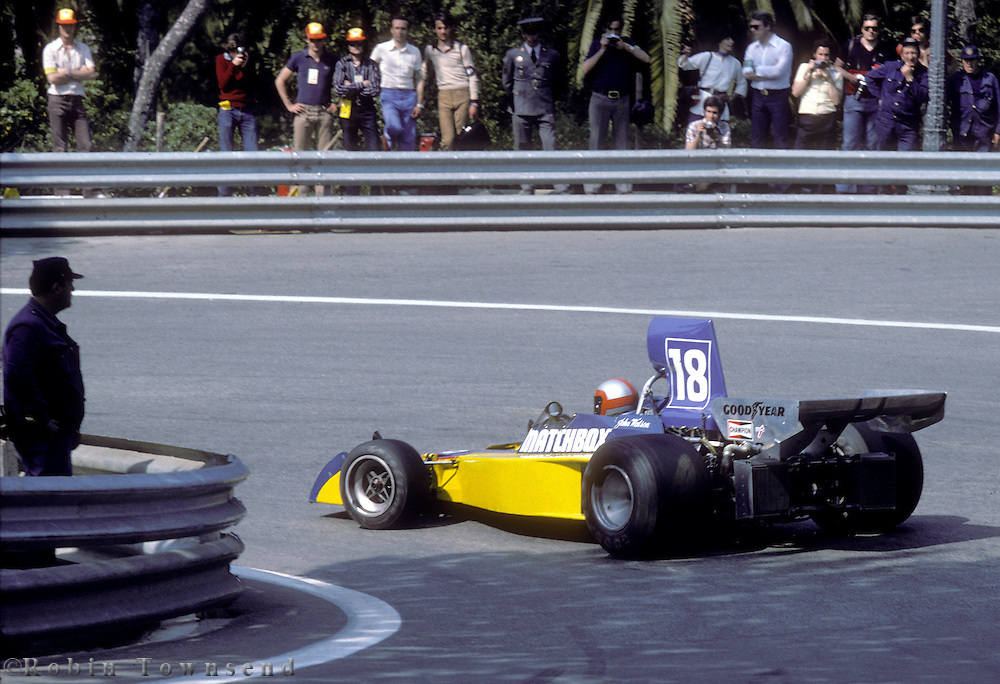British driver John Watson handles his Surtees-Ford during the training sessions of the 1975 Spanish Grand Prix