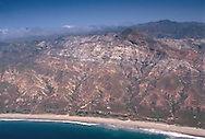 Aerial view of rugged hills and terrain of Santa Cruz Island, Channel Islands, Southern California Coast