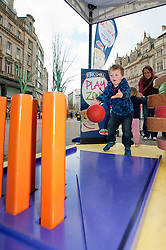The Kingsmill Big Lunch Tour reaches Sheffield and puts the fun back into lunchtimes as Alfie Wilson uses a tomato Bowling ball on Carrot Skittles in the Kingsmill Playzone in Fargate Sheffield on Wednesday...http://www.pauldaviddrabble.co.uk.11 April 2012 .Image © Paul David Drabble