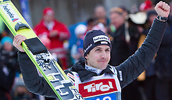 04.01.2015, Bergisel Schanze, Innsbruck, AUT, FIS Ski Sprung Weltcup, 63. Vierschanzentournee, Innsbruck, 2. Wertungsdurchgang, im Bild Simon Ammann (SUI) // Simon Ammann of Switzerland reacts after his second competition jump for the 63rd Four Hills Tournament of FIS Ski Jumping World Cup at the Bergisel Schanze in Innsbruck, Austria on 2015/01/04. EXPA Pictures © 2015, PhotoCredit: EXPA/ JFK