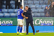 Leicester City Manager Brendan Rodgers celebrates at full time with Leicester City midfielder Youri Tielemans (8) during the Premier League match between Leicester City and West Ham United at the King Power Stadium, Leicester, England on 22 January 2020.