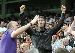 Manchester City's fan Liam Gallagher cheers his team from the stands during Champions League match. September 18, 2012. (ALTERPHOTOS/Alvaro Hernandez).